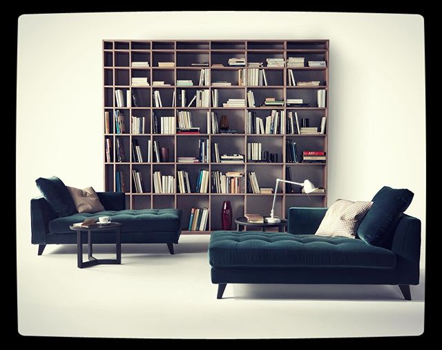Willy slim dormeuse and Armonia bookcase #maracsofa #design #furniture #fornituremadeinitaly #sofa#dormeuse #bookcase #librerie